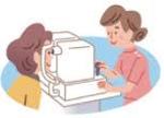 眼底検査を受ける女性のイラスト